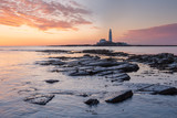 St. Mary's Lighthouse during Sunrise, Northumberland, England, Great Britain - 231359700