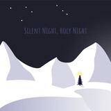 Christmas tree and snow in silent night theme - 231371308