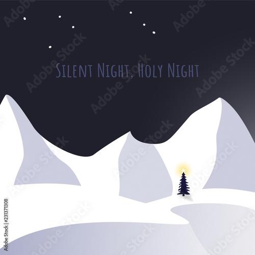Leinwandbild Motiv Christmas tree and snow in silent night theme