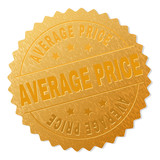 AVERAGE PRICE gold stamp award. Vector golden award with AVERAGE PRICE label. Text labels are placed between parallel lines and on circle. Golden skin has metallic effect. - 231375931