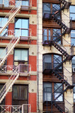 Close-up view of New York City apartment buildings with emergency stairs in Little Italy neighborhood of Manhattan NYC - 231377902