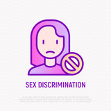 Sex discrimination thin line icon: sad woman with stop sign. Modern vector illustration. - 231380173