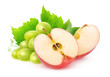Leinwandbild Motiv Isolated fruits. Cut red apple and bunch of white grapes isolated on white background with clipping path
