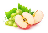 Isolated fruits. Cut red apple and bunch of white grapes isolated on white background with clipping path