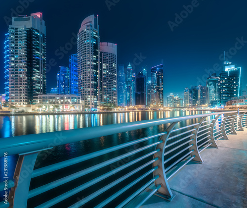 Leinwanddruck Bild Dubai Marina bay view from Palm Jumeirah, UAE