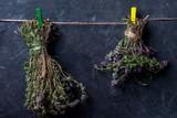 bunch of thyme on black  board, alternative medicine, flat lay top-down - 231389390