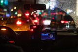 Interior view of taxi cab stuck in New York traffic - 231408728