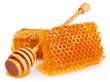 Honey with honeycomb on white background