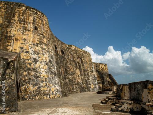 Stone Wall of Castillo San Felipe del Morro, San Juan, Puerto Rico