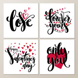 Valentines Day creative artistic hand drawn cards set. Vector illustration. Wedding, love, romantic template. - 231424589