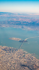 Aerial View of the San Francisco Bridge With Fog at Daytime © porqueno