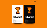 Champ Card With Simple Flat Trophy Vector Illustration  - 231441518