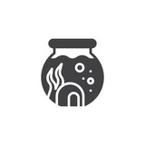 Aquarium with water plant vector icon. filled flat sign for mobile concept and web design. Round aquarium simple solid icon. Symbol, logo illustration. Pixel perfect vector graphics