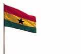Fluttering Ghana isolated flag on white background mockup with the space for your content. - 231451361