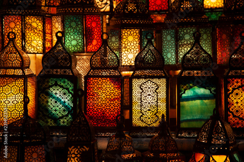 lighting with colors on muslim style's lantern - 231452358