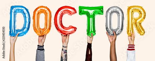Leinwanddruck Bild Hands showing doctor balloons word