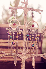 Bohemian style earrings with rainbow effect hematite stone beads