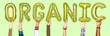 Leinwanddruck Bild - Hands showing organic balloons word
