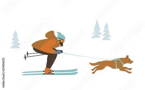 fototapeta na ścianę man and dog skijoring, winter sports isolated vector illustration scene graphic