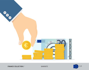 Hand putting coins to coin stack with 20 Euro Banknote. Flat style vector illustration. Growing graph. Finance concept.