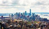 MANHATTAN, NEW YORK CITY. Manhattan skyline and skyscrapers aerial view. New York City, USA.