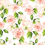 Beautiful watercolor pattern with flowers of roses and peonies. - 231460526