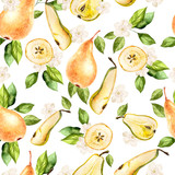 Watercolor Pattern with pears and flowers.  - 231460551