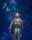 Astronaut standing and looking at outer space with stars and planets. 3D rendering.