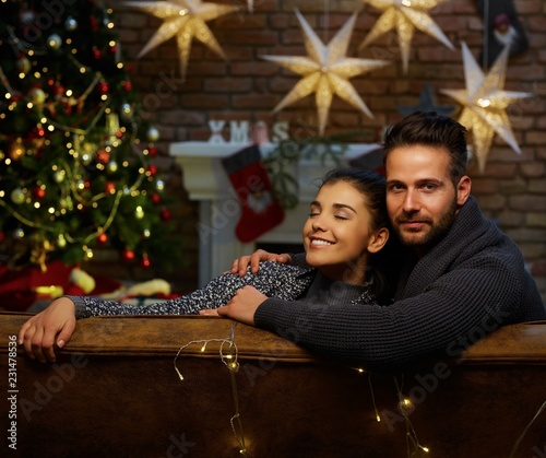 Christmas couple at home in Winter - 231478536