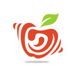 Abstract Red Apple Simple Modern Logo Fruits Round Creative Concept Template Icon Vector - 231484166