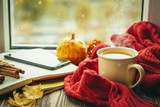Autumn tea with scarf and leaves in front of window, copy space - 231484548
