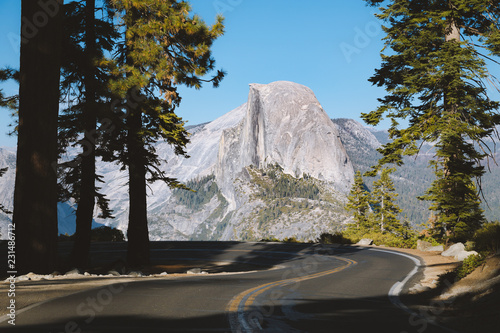 Leinwanddruck Bild Glacier Point Road with Half Dome, Yosemite National Park, California, USA