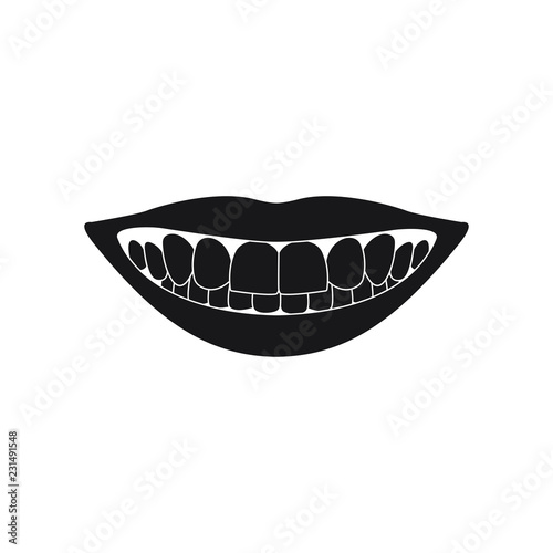 mouth with teeth black silhouette on white background