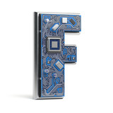 Letter F.  Alphabet in circuit board style. Digital hi-tech letter isolated on white. - 231493719