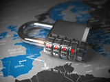 GDPR UA General Data Protection Regulation. Padlock with GDPR code on the map of Europe. - 231494346