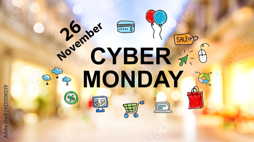 Cyber Monday text on blurred illuminated shopping mall background