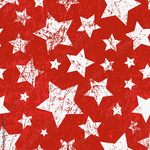 mata magnetyczna Vector seamless childish pattern with stars. Grunge style, shabby street art imitation. Vintage old paper texture.