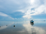Fisherman boat aground over shallow water - 231505917