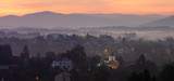 Panorama of the city against the backdrop of a mountain landscape in the morning, Cieszyn, Poland - 231511363