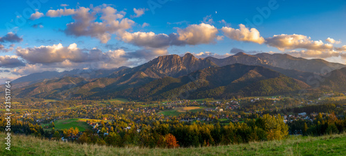 panorama of the Tatra Mountains and the resort of Zakopane in Poland