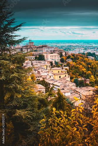 beautiful cityscape fall season - Bergamo old town - italy travel destination
