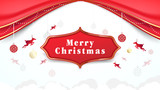 Christmas elements hanging with Red curtains background - 231513982