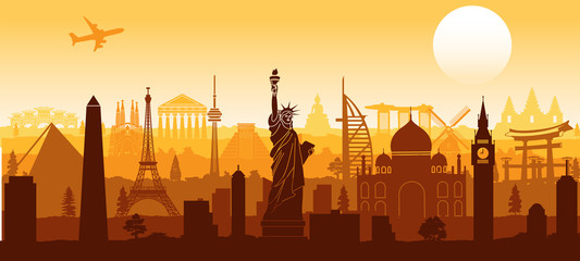 world famous landmark silhouette style with row design on sunset time © Therdpongchai