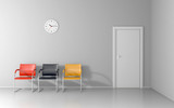 Three crairs and wall clock in the waiting room - 231516526