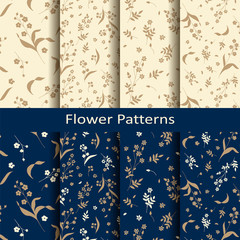 set of eight seamless vector floral gentle bronze vintage patterns. design for textile, covers, package © lenazol