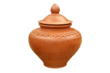 Oriental Style Terracotta Water Pot Isolated on White Background - 231520588