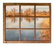 calm lake at sunset - window view