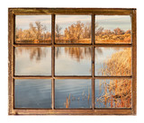 calm lake at sunset - window view - 231521930