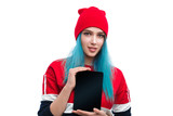 Stylish modern woman showing new tablet