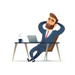 Businessman on his desk relaxing. Manager sit relax and think on his workplace. Cartoon vector illustration. - 231527954